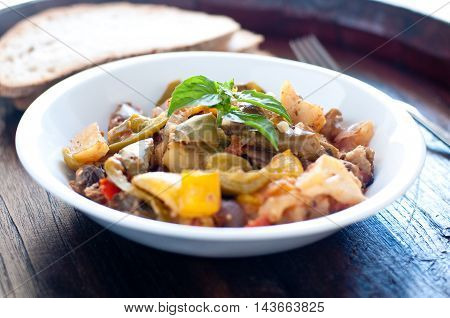 delicious caponata typical Sicilian dish with peppers tomatoes and eggplant