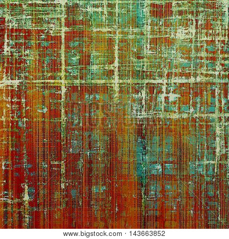 Vintage torn texture or stylish grunge background with ancient design elements and different color patterns: yellow (beige); brown; green; blue; red (orange); pink