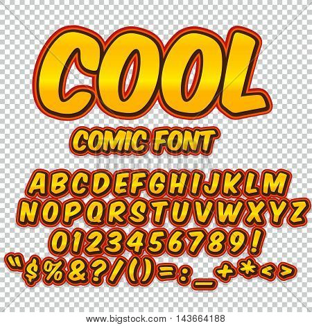 Comic orange alphabet set. Letters, numbers and figures for kids' illustrations websites comics banners.