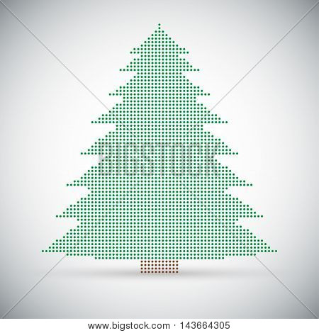 Christmas tree made of multicolored price on different backgrounds.