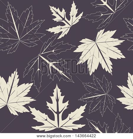 Endless pattern with maple leaves on purple background can be used for linen, tile ,design fabric, web pages ,cover and more creative designs.