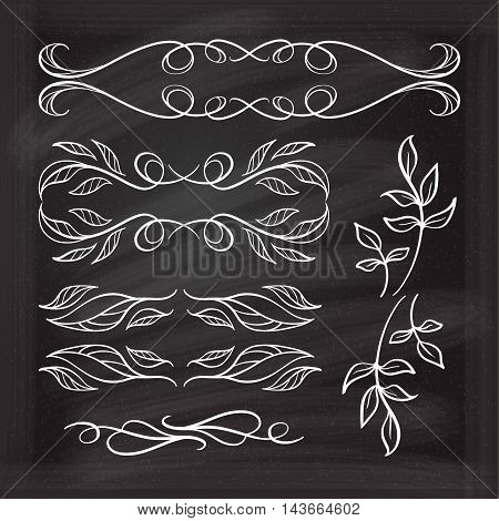 Set of elegant floral elements for your design on the chalkboard.