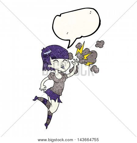 freehand speech bubble textured cartoon vampire girl flying