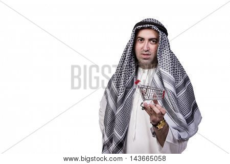 Arab man with shopping cart trolley isolated on white