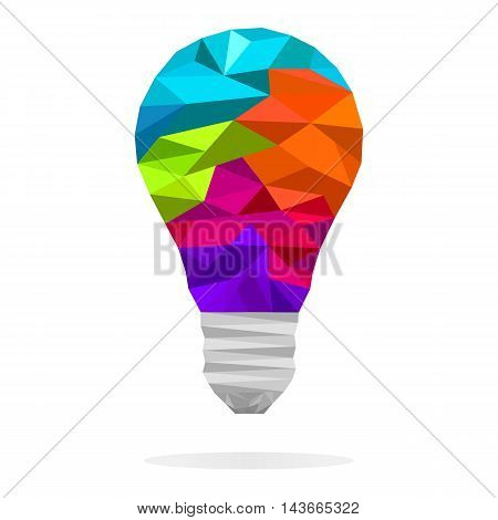 Colorful low polygon light bulb concept of creative idea. Vector design element for logo banners sign presentation graphic or website layout.
