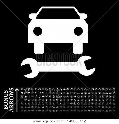 Car Repair icon with 1200 bonus arrow and navigation pictograms. Vector illustration style is flat iconic symbols, white color, black background.