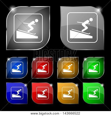 Skier Icon Sign. Set Of Ten Colorful Buttons With Glare. Vector