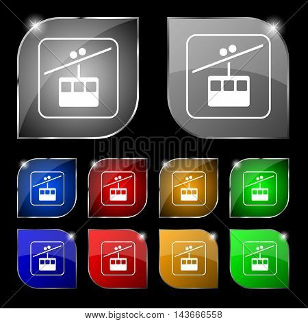 Cable Car Line Icon Sign. Set Of Ten Colorful Buttons With Glare. Vector