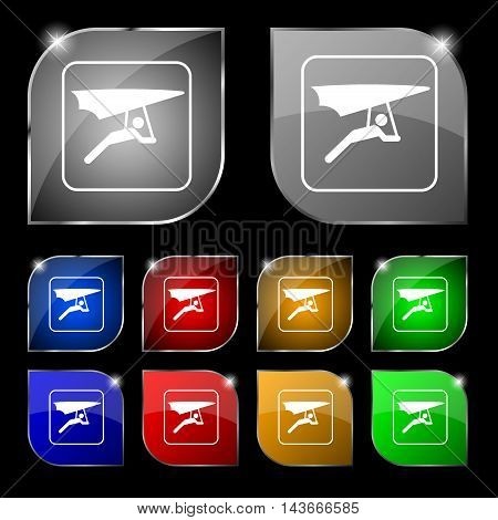 Hang-gliding Icon Sign. Set Of Ten Colorful Buttons With Glare. Vector