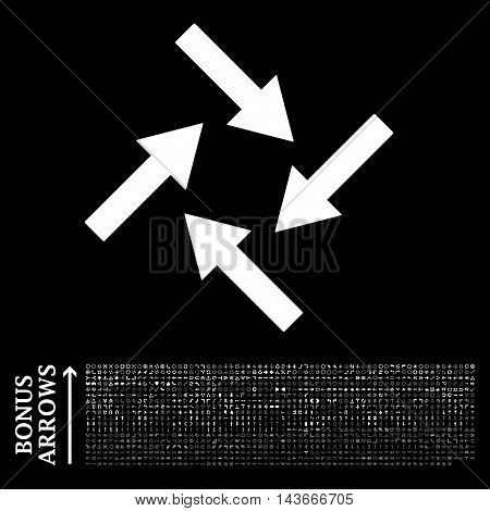 Centripetal Arrows icon with 1200 bonus arrow and direction pictograms. Vector illustration style is flat iconic symbols, white color, black background.