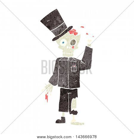 freehand drawn retro cartoon posh zombie