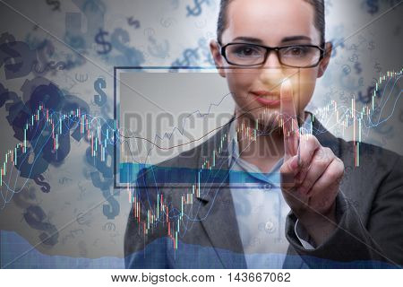 Businesswoman in business concept with chart