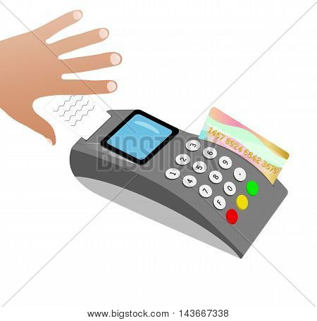 The hand picks up a check after a credit card payment