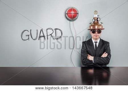 Guard text text with vintage businessman and alert light