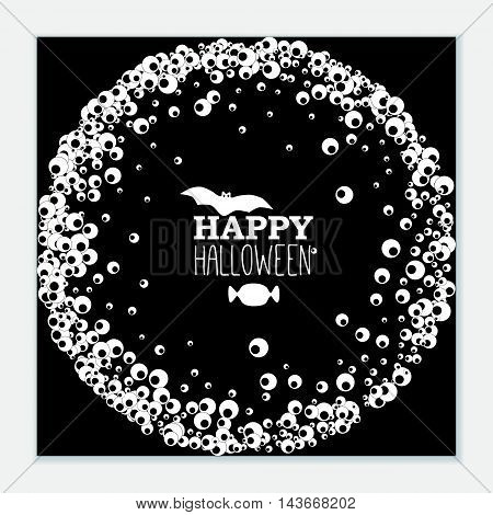 Happy Halloween black banner with wreath of apple of the eye bat and candy. Vector leaflet.