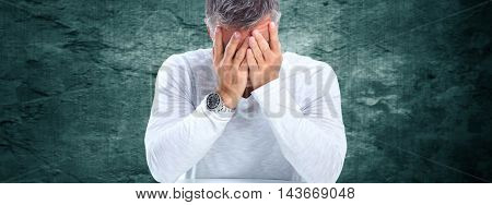 Man having a migraine headache.