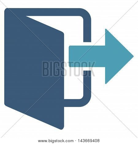 Exit Door icon. Vector style is bicolor flat iconic symbol with rounded angles, cyan and blue colors, white background.