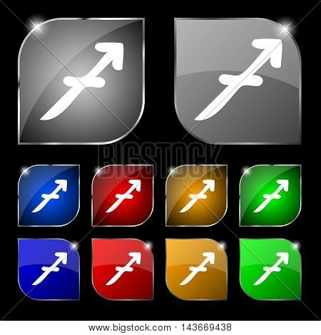 Sagittarius Icon Sign. Set Of Ten Colorful Buttons With Glare. Vector