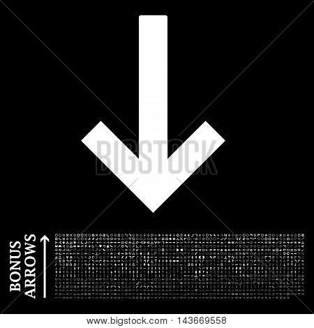 Down Arrow icon with 1200 bonus arrow and direction pictograms. Vector illustration style is flat iconic symbols, white color, black background.