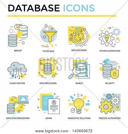 Database icon, thin line, flat design