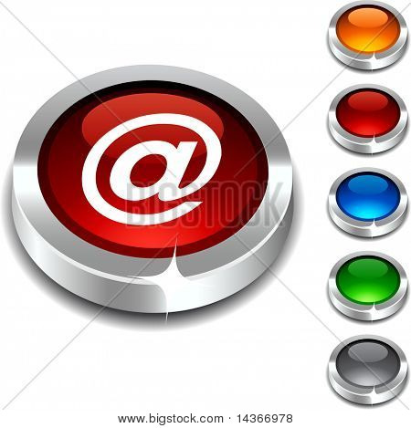 Arroba 3d button set. Vector illustration.