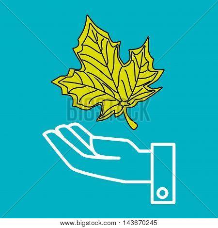 hand leaf tree nature vector illustration design