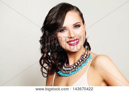 Happy beautiful Woman Fashion Model. Beauty Portrait