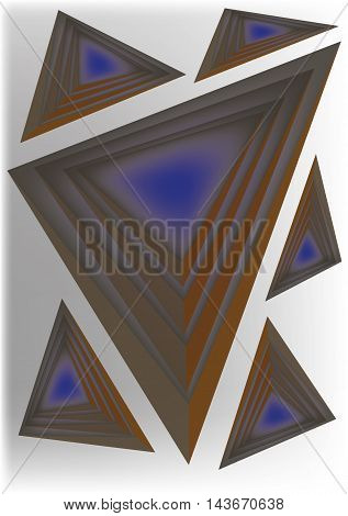 Six pyramids, quadrangles spatial geometry vector image.