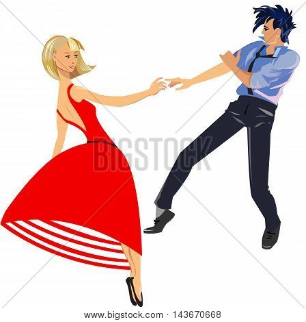 Young couple dancing fast rhythmic dance in 60-s style