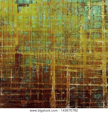 Vintage elegant background, creased grunge backdrop with aged texture and different color patterns: yellow (beige); brown; green; blue; red (orange); cyan