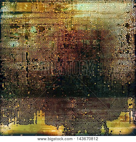 Abstract retro design composition. Stylish grunge background or texture with different color patterns: yellow (beige); brown; black; green; red (orange); gray