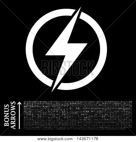 Electricity icon with 1200 bonus arrow and direction pictograms. Vector illustration style is flat iconic symbols, white color, black background.