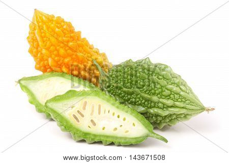 green and yellow momordica or karela isolated on white background.