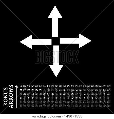 Expand Arrows icon with 1200 bonus arrow and direction pictograms. Vector illustration style is flat iconic symbols, white color, black background.