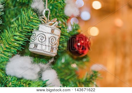 Decorated Christmas Tree On Blurred, Sparkling