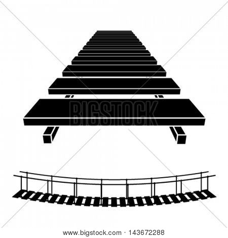3D simple wooden bridge black symbol vector