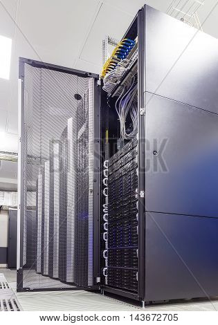 rackserver hardware with an open door in data center