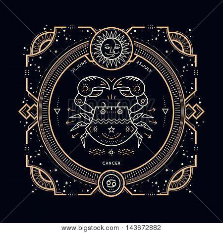 Vintage thin line Cancer zodiac sign label. Retro vector astrological symbol, mystic, sacred geometry element, emblem, logo. Stroke outline illustration.