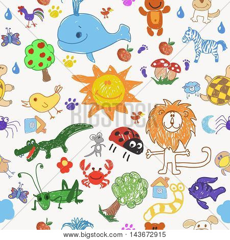 Childrens style drawing doodle animals trees and sun seamless pattern. illustration