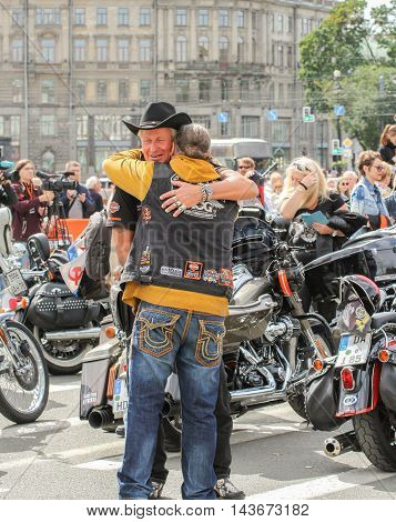 St. Petersburg, Russia - 12 August, The meeting of two bikers, 12 August, 2016. The annual parade of Harley Davidson in the squares and streets of St. Petersburg.