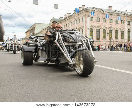 St. Petersburg, Russia - 12 August, Bikers tricycle on Green Bridge Nevsky Prospekt,12 August, 2016. The annual parade of Harley Davidson in the squares and streets of St. Petersburg.
