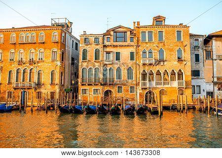 Beautiful waterfront with gothic buildings Grand canal at the morning in Venice