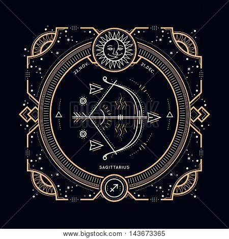 Vintage thin line Sagittarius zodiac sign label. Retro vector astrological symbol, mystic, sacred geometry element, emblem, logo. Stroke outline illustration.