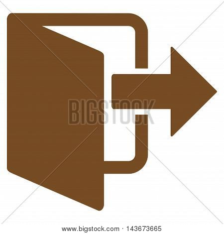 Exit Door icon. Vector style is flat iconic symbol with rounded angles, brown color, white background.