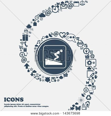 Skier Icon In The Center. Around The Many Beautiful Symbols Twisted In A Spiral. You Can Use Each Se