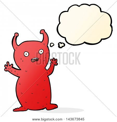 cartoon funny little alien with thought bubble