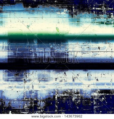Old style design, textured grunge background with different color patterns: black; green; blue; white; cyan