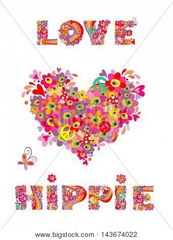 Hippie print with heart shape, abstract colorful flowers, mushrooms and rainbow
