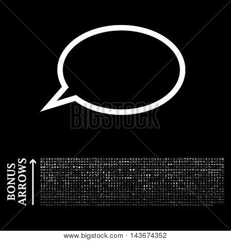 Hint Cloud icon with 1200 bonus arrow and navigation pictograms. Vector illustration style is flat iconic symbols, white color, black background.