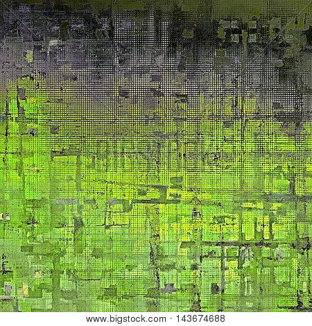 Distressed grunge texture, damaged vintage background with different color patterns: yellow (beige); black; green; gray